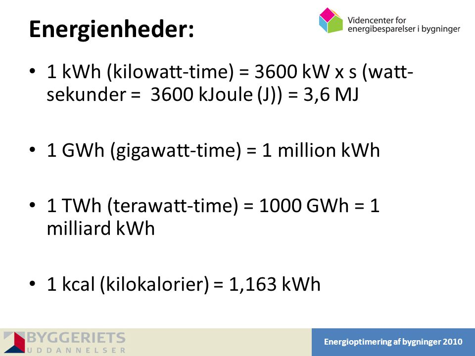 Energienheder: 1 kWh (kilowatt-time) = 3600 kW x s (watt-sekunder = 3600 kJoule (J)) = 3,6 MJ. 1 GWh (gigawatt-time) = 1 million kWh.