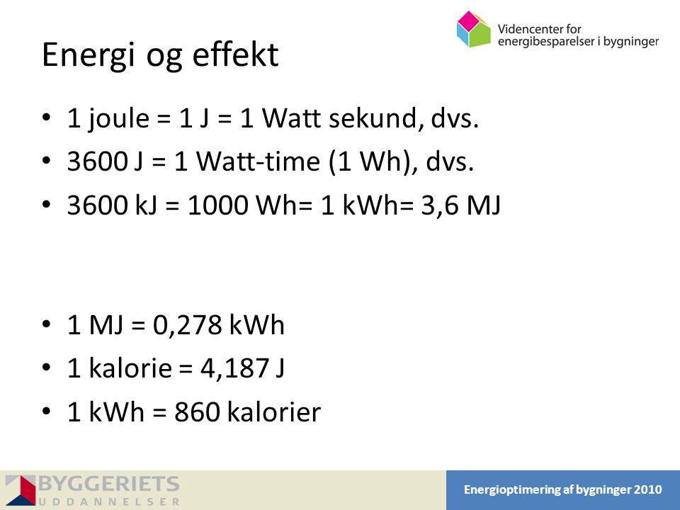 Energi og effekt 1 joule = 1 J = 1 Watt sekund, dvs.
