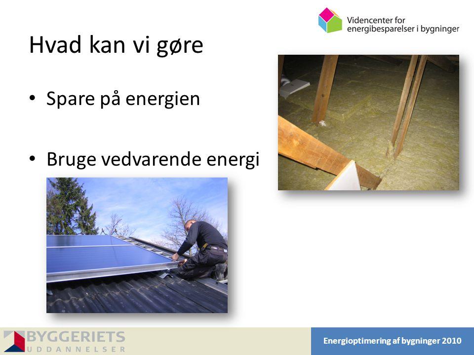 Hvad kan vi gøre Spare på energien Bruge vedvarende energi