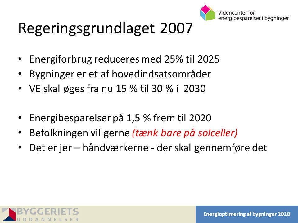 Regeringsgrundlaget 2007 Energiforbrug reduceres med 25% til 2025