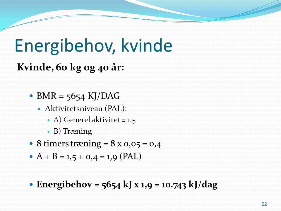 Energibehov, kvinde Kvinde, 60 kg og 40 år: BMR = 5654 KJ/DAG