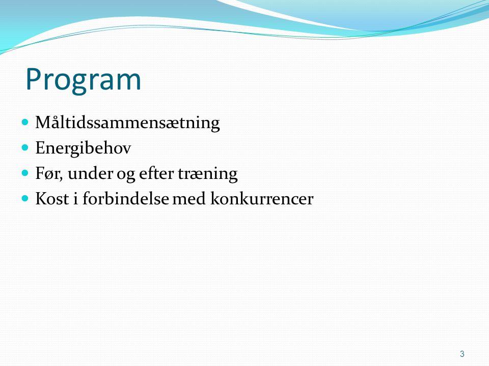Program Måltidssammensætning Energibehov Før, under og efter træning