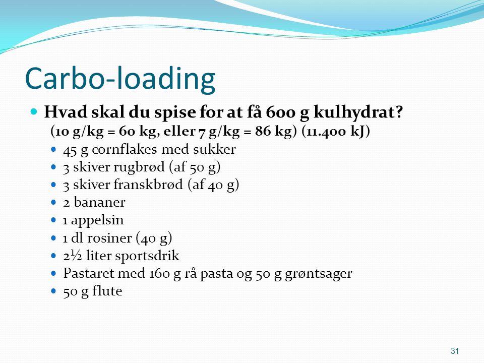 Carbo-loading Hvad skal du spise for at få 600 g kulhydrat