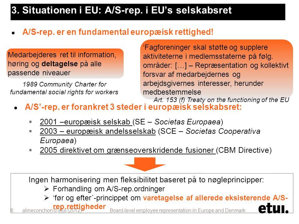 3. Situationen i EU: A/S-rep. i EU's selskabsret