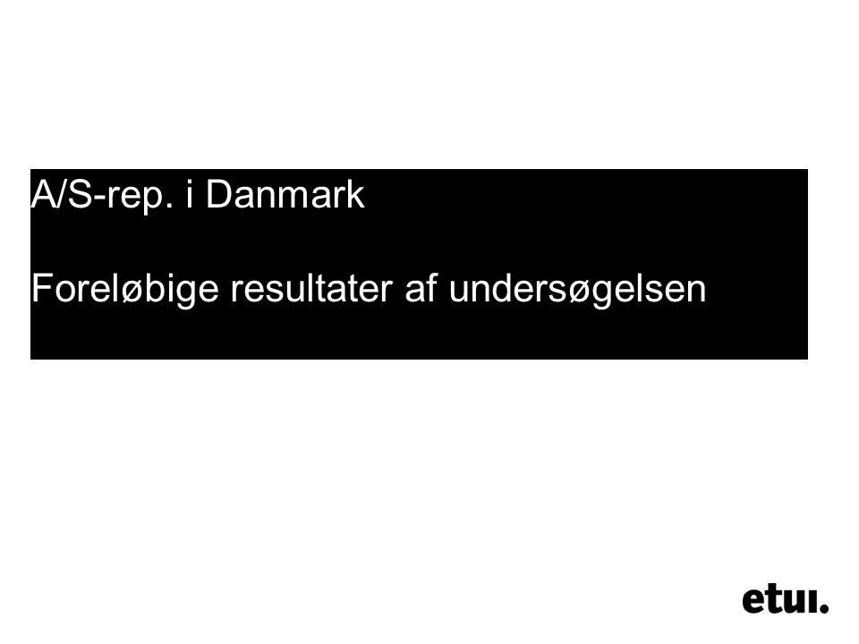 A/S-rep. i Danmark Foreløbige resultater af undersøgelsen