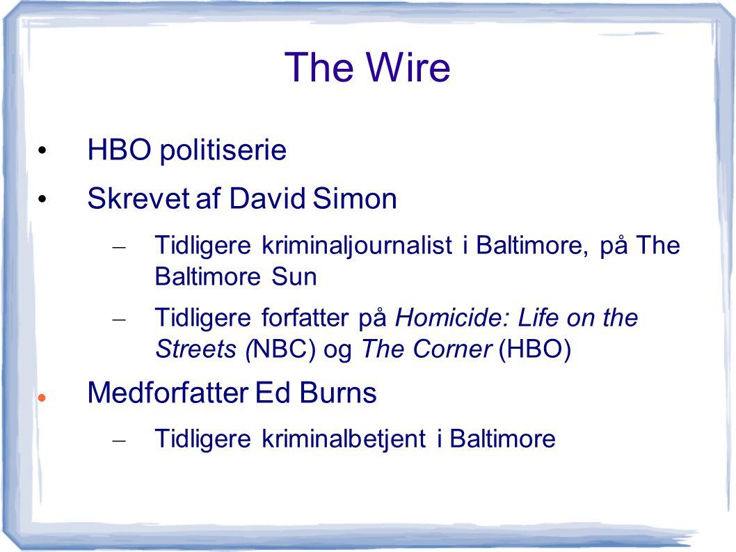 The Wire HBO politiserie Skrevet af David Simon Medforfatter Ed Burns