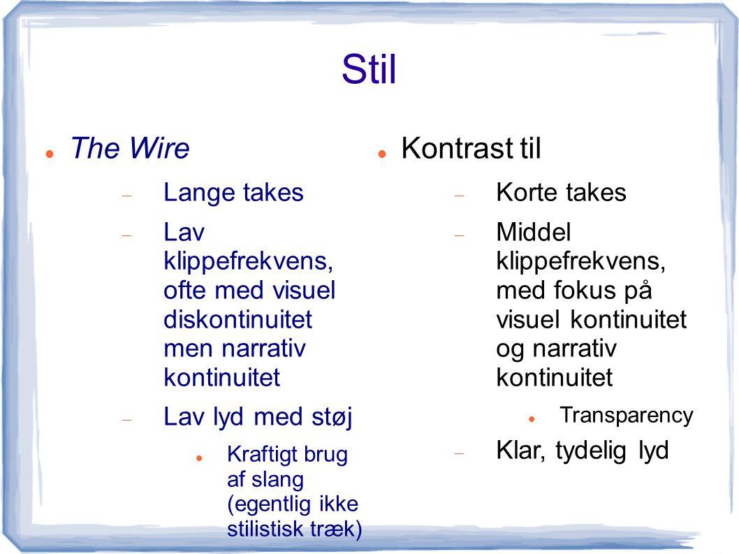 Stil The Wire Kontrast til Lange takes