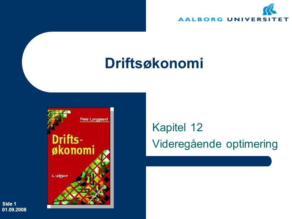 Erhvervsøkonomi Kapitel 12 Videregående optimering