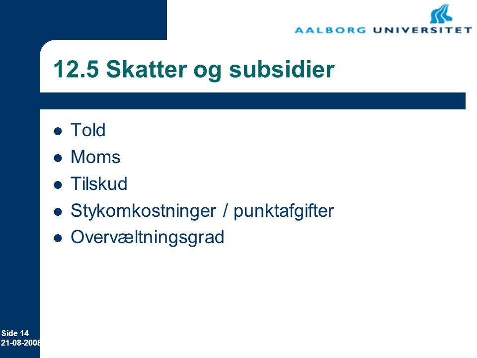 12.5 Skatter og subsidier Told Moms Tilskud