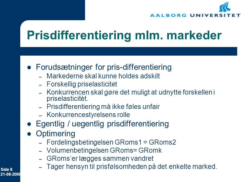 Prisdifferentiering mlm. markeder