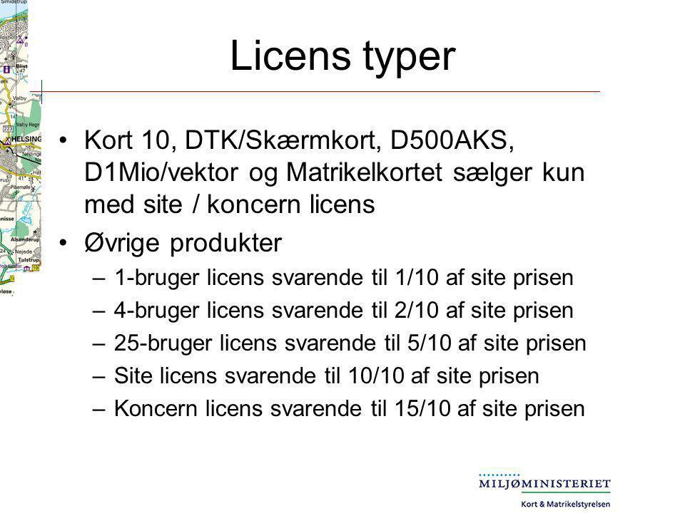 Licens typer Kort 10, DTK/Skærmkort, D500AKS, D1Mio/vektor og Matrikelkortet sælger kun med site / koncern licens.