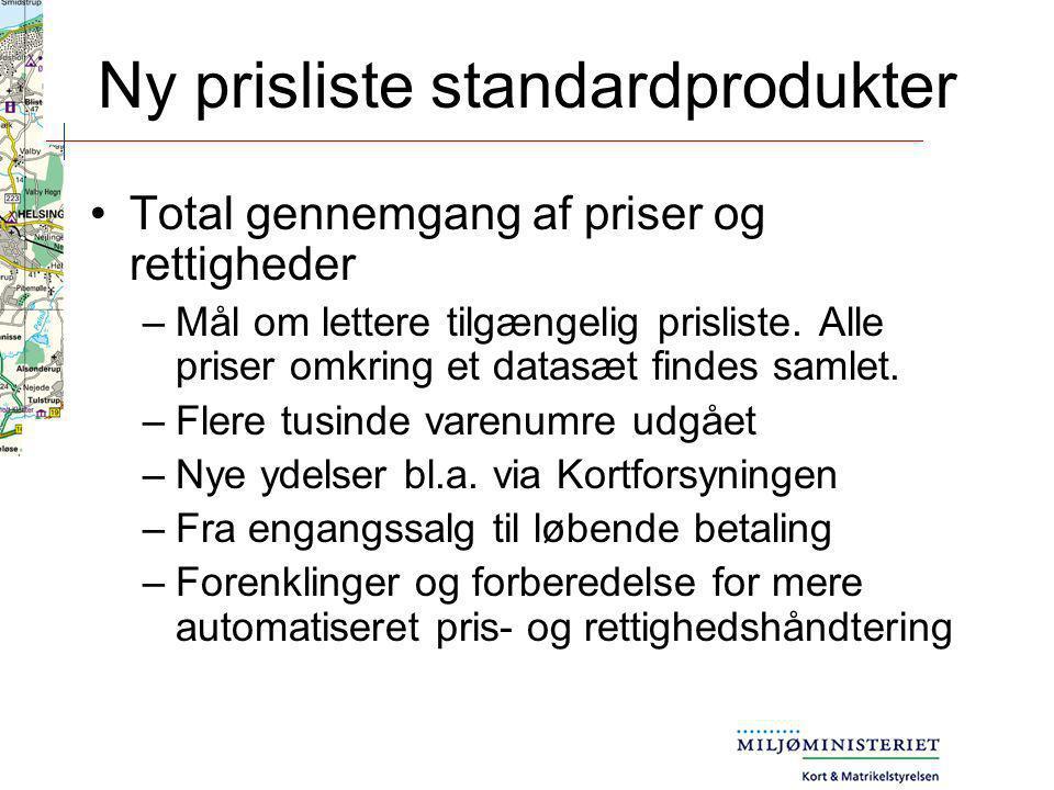 Ny prisliste standardprodukter