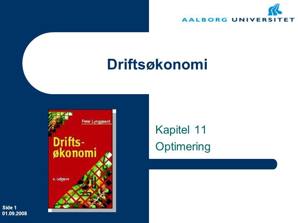 Erhvervsøkonomi Kapitel 11 Optimering