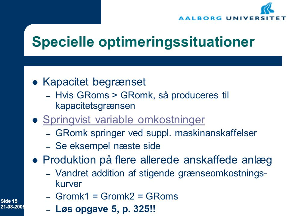 Specielle optimeringssituationer