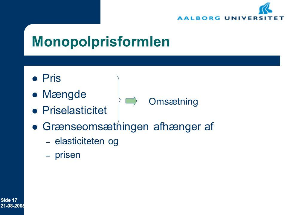 Monopolprisformlen Pris Mængde Priselasticitet