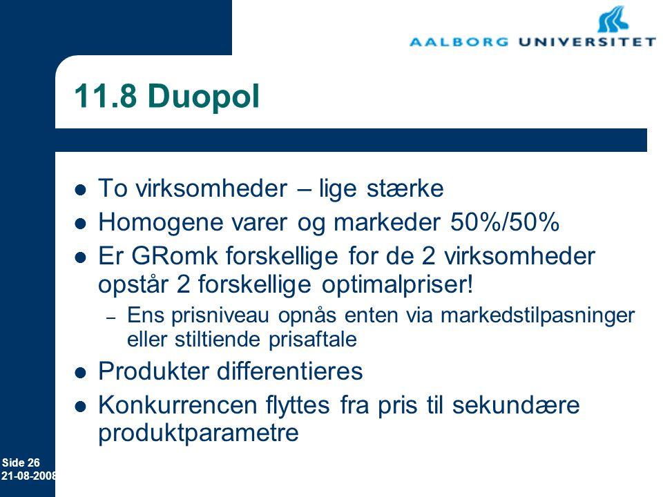 11.8 Duopol To virksomheder – lige stærke