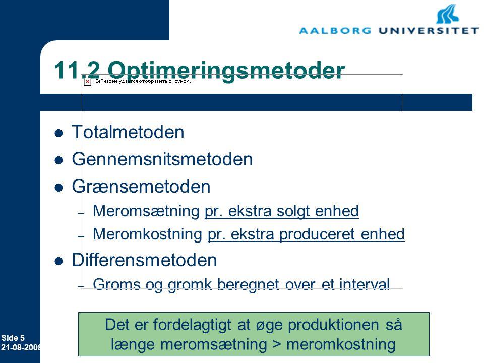 11.2 Optimeringsmetoder Totalmetoden Gennemsnitsmetoden Grænsemetoden