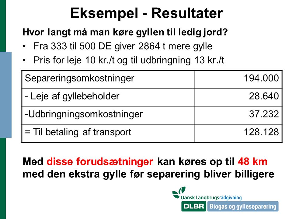 Eksempel - Resultater Hvor langt må man køre gyllen til ledig jord Fra 333 til 500 DE giver 2864 t mere gylle.
