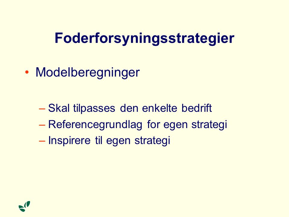 Foderforsyningsstrategier