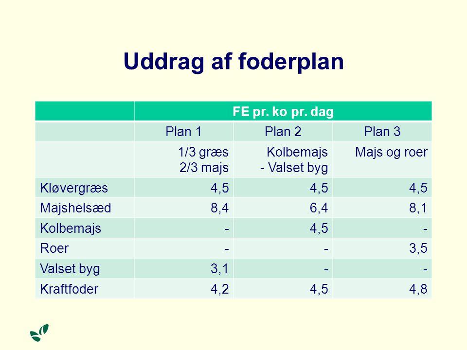 Uddrag af foderplan FE pr. ko pr. dag Plan 1 Plan 2 Plan 3 1/3 græs