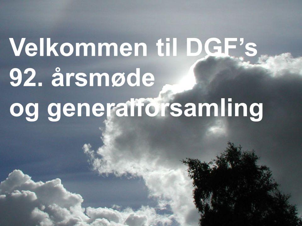 Velkommen til DGF's 92. årsmøde og generalforsamling