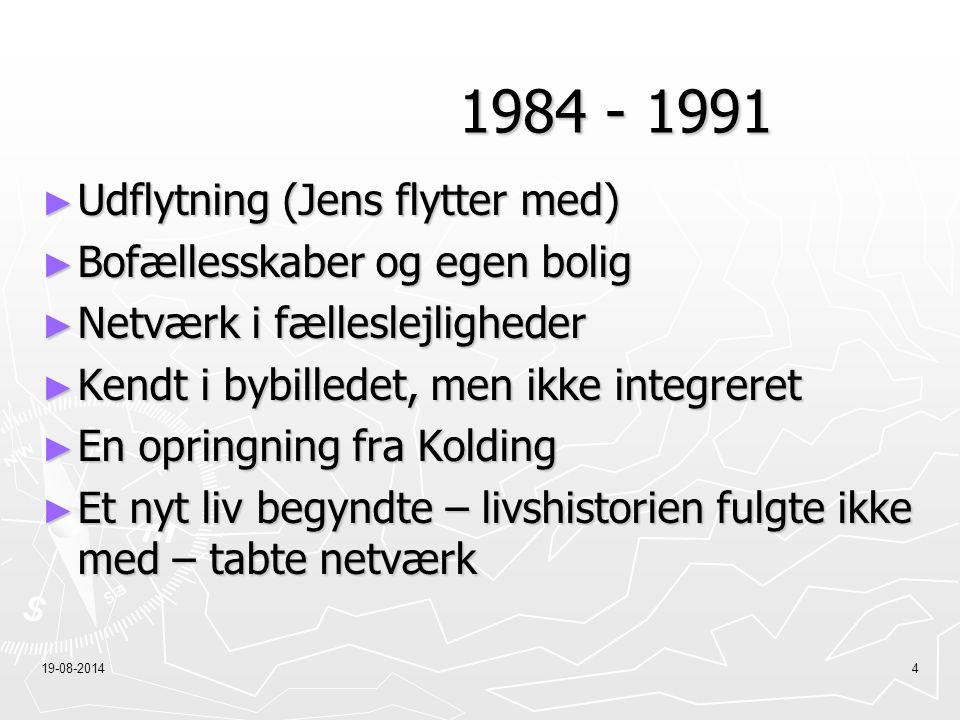 1984 - 1991 Udflytning (Jens flytter med) Bofællesskaber og egen bolig