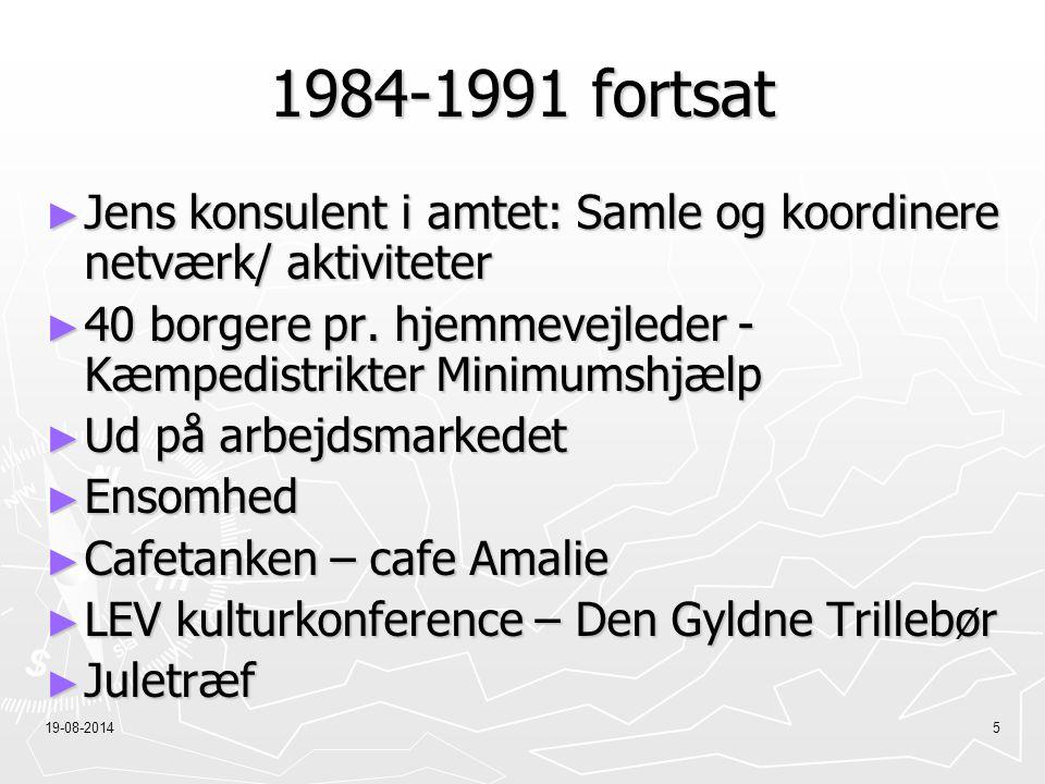 1984-1991 fortsat Jens konsulent i amtet: Samle og koordinere netværk/ aktiviteter. 40 borgere pr. hjemmevejleder - Kæmpedistrikter Minimumshjælp.