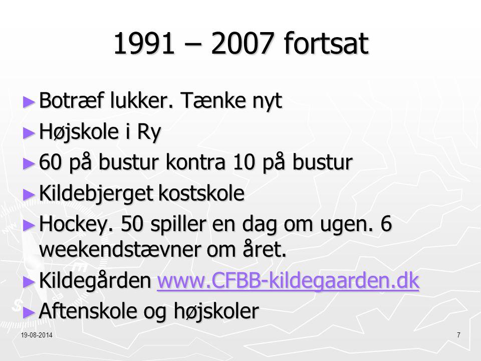 1991 – 2007 fortsat Botræf lukker. Tænke nyt Højskole i Ry