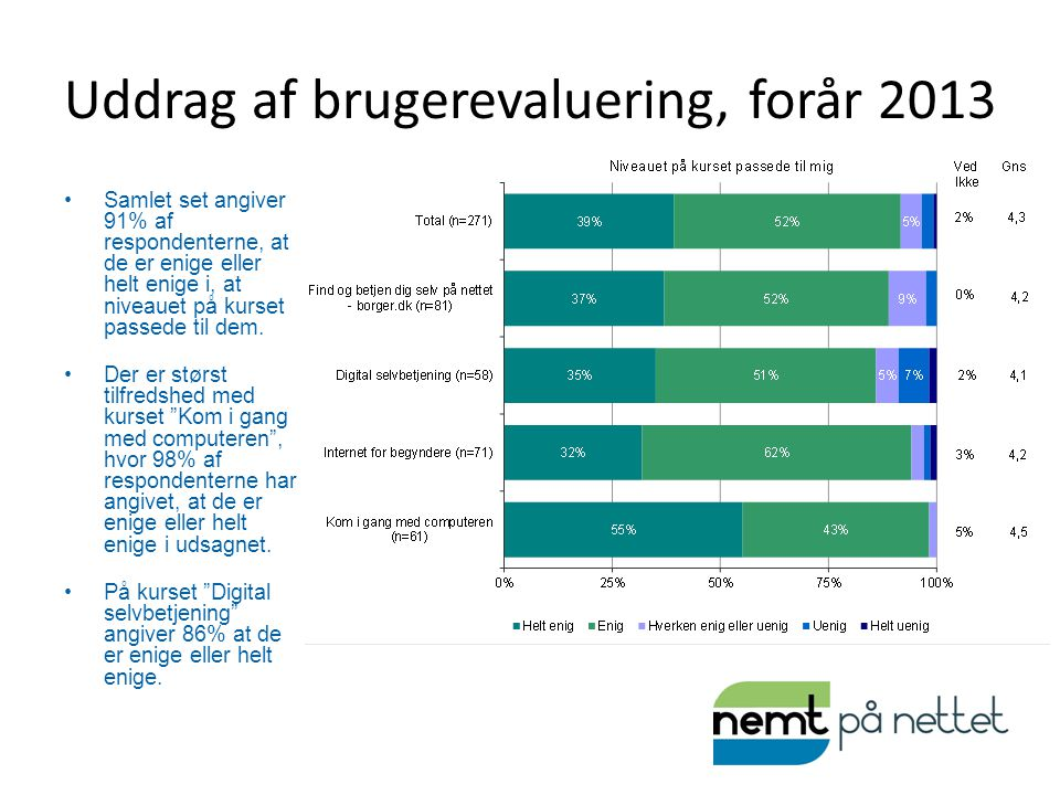 Uddrag af brugerevaluering, forår 2013