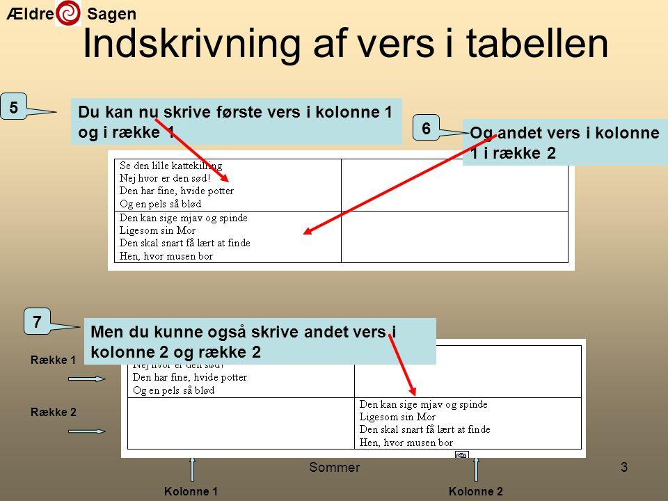 Indskrivning af vers i tabellen