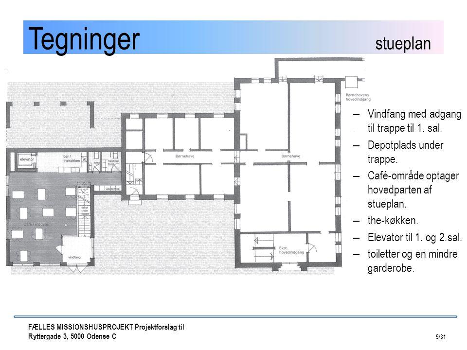 Tegninger stueplan Vindfang med adgang til trappe til 1. sal.