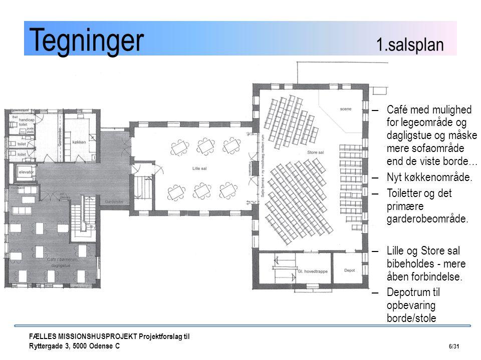 Tegninger 1.salsplan Café med mulighed for legeområde og dagligstue og måske mere sofaområde end de viste borde…