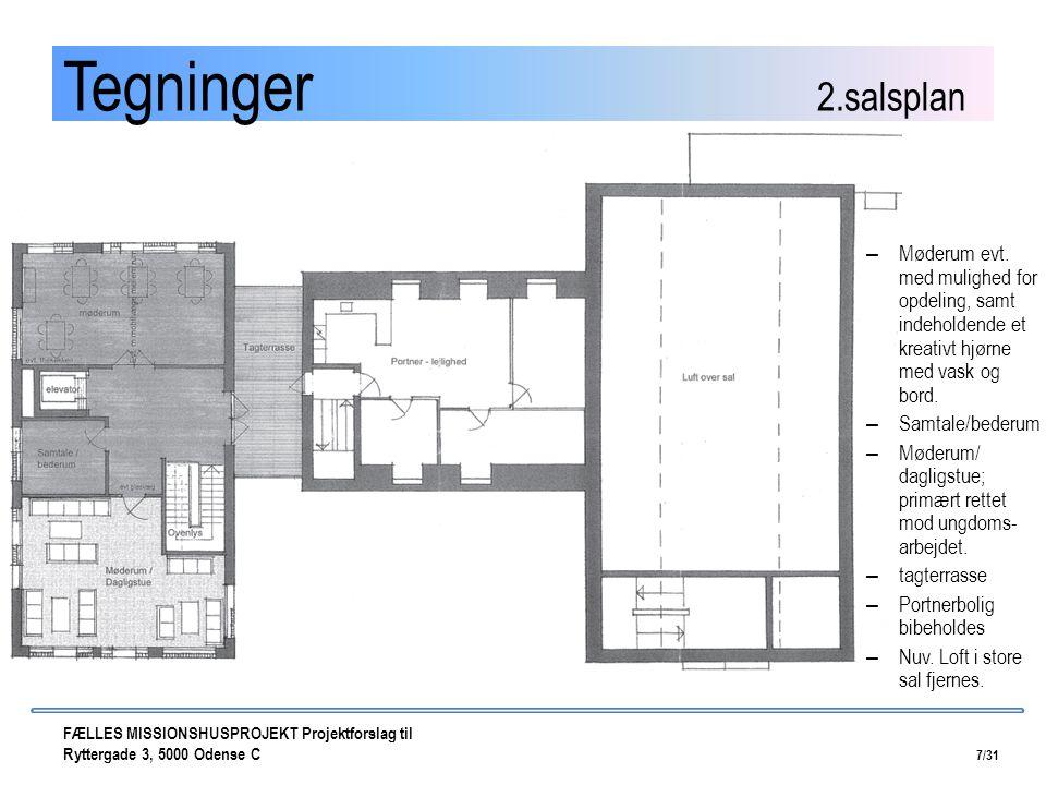 Tegninger 2.salsplan Møderum evt. med mulighed for opdeling, samt indeholdende et kreativt hjørne med vask og bord.
