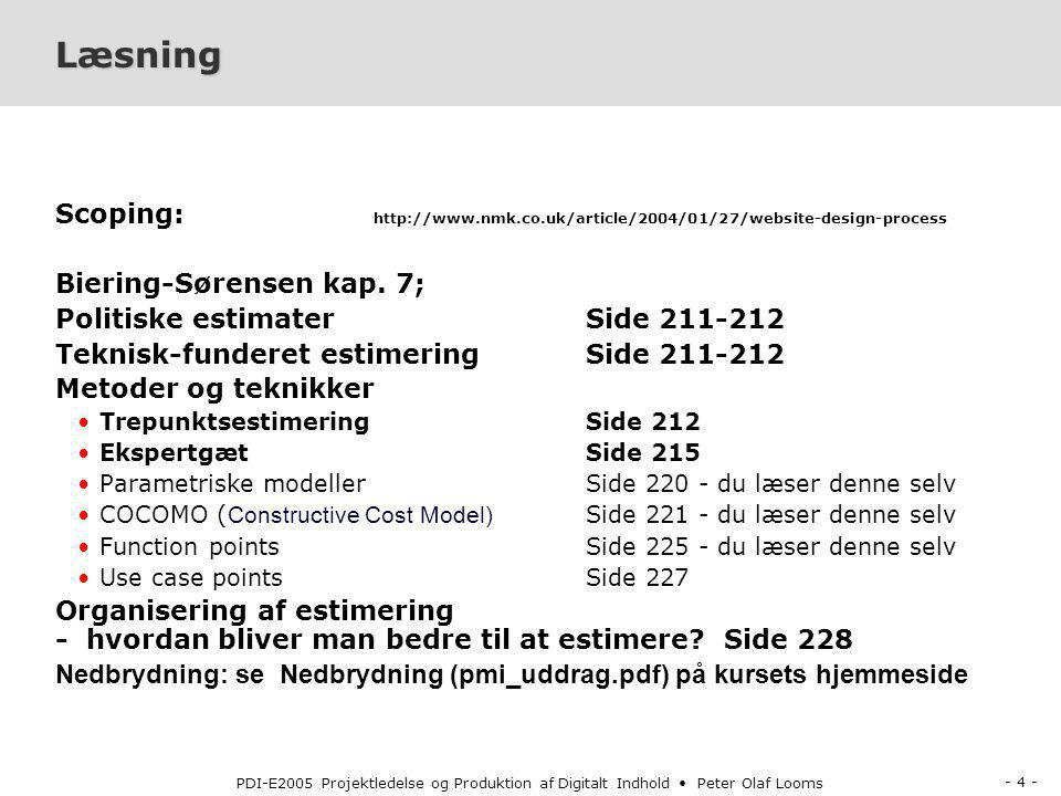 Læsning Scoping: http://www.nmk.co.uk/article/2004/01/27/website-design-process. Biering-Sørensen kap. 7;