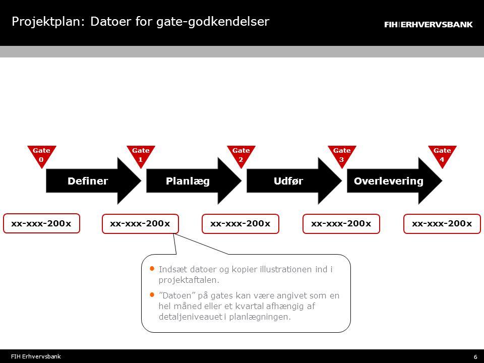Projektplan: Datoer for gate-godkendelser