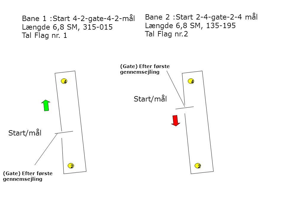 Bane 1 :Start 4-2-gate-4-2-mål Længde 6,8 SM, 315-015 Tal Flag nr. 1