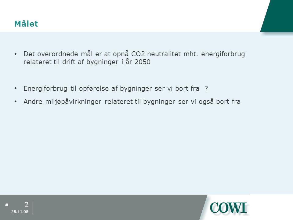 Målet Det overordnede mål er at opnå CO2 neutralitet mht. energiforbrug relateret til drift af bygninger i år 2050.