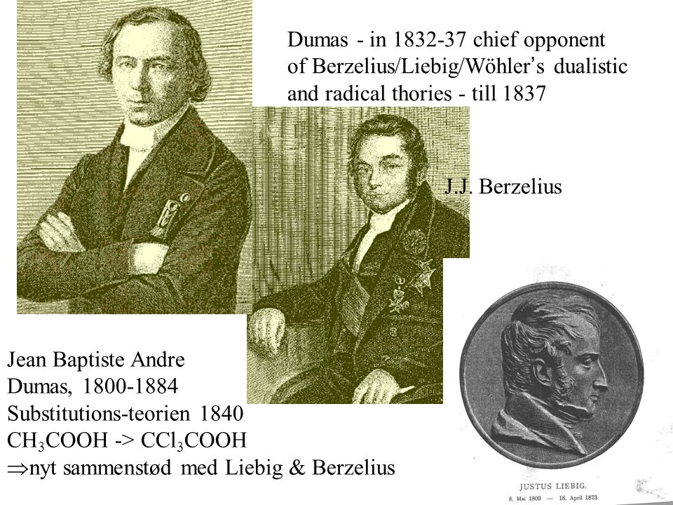 Dumas - in 1832-37 chief opponent of Berzelius/Liebig/Wöhler's dualistic and radical thories - till 1837