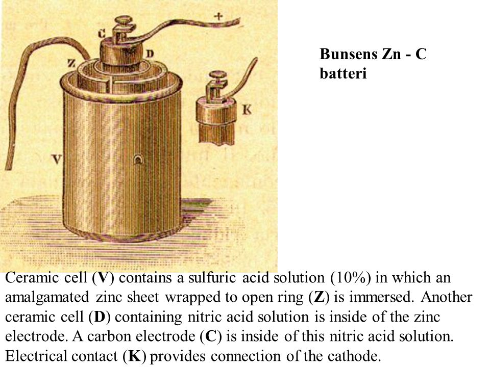 Bunsens Zn - C batteri.