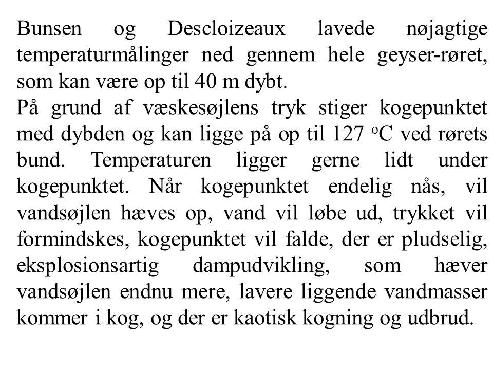 Bunsen og Descloizeaux lavede nøjagtige temperaturmålinger ned gennem hele geyser-røret, som kan være op til 40 m dybt.
