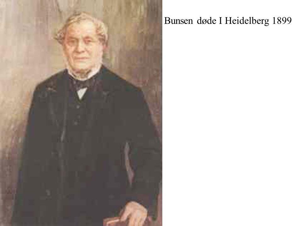 Bunsen døde I Heidelberg 1899