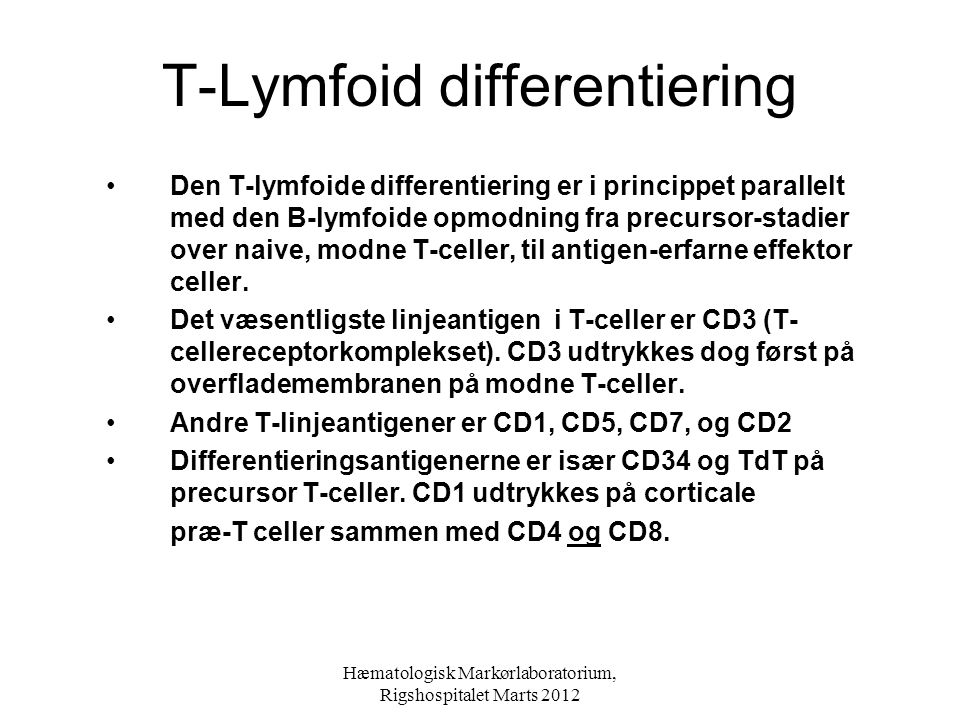 T-Lymfoid differentiering