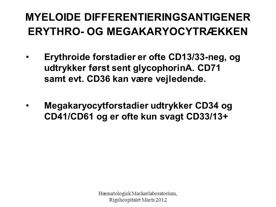 MYELOIDE DIFFERENTIERINGSANTIGENER ERYTHRO- OG MEGAKARYOCYTRÆKKEN