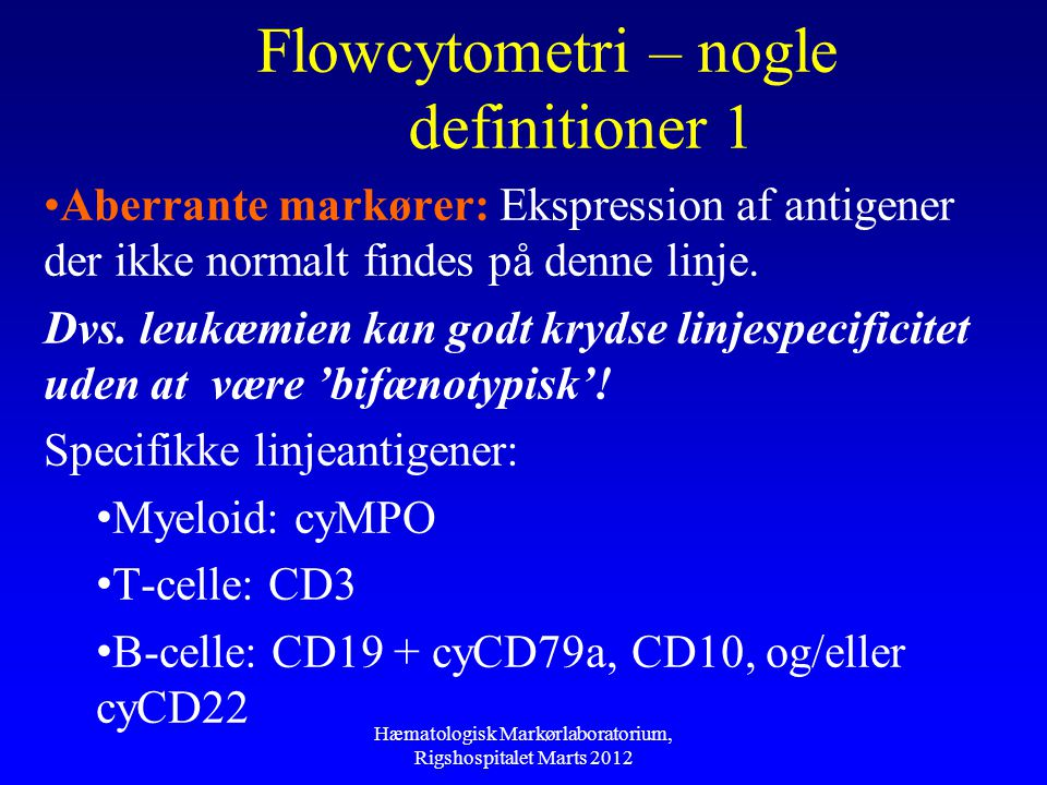 Flowcytometri – nogle definitioner 1