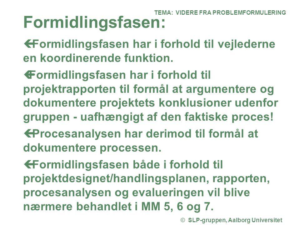 TEMA: VIDERE FRA PROBLEMFORMULERING © SLP-gruppen, Aalborg Universitet