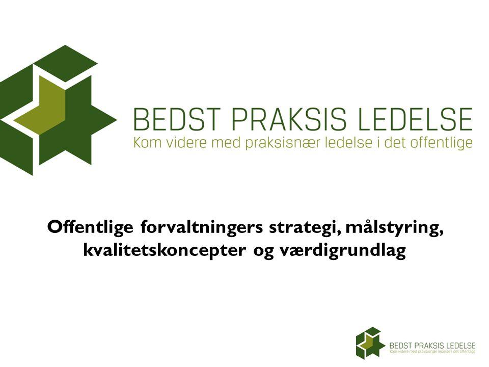 Offentlige forvaltningers strategi, målstyring, kvalitetskoncepter og værdigrundlag