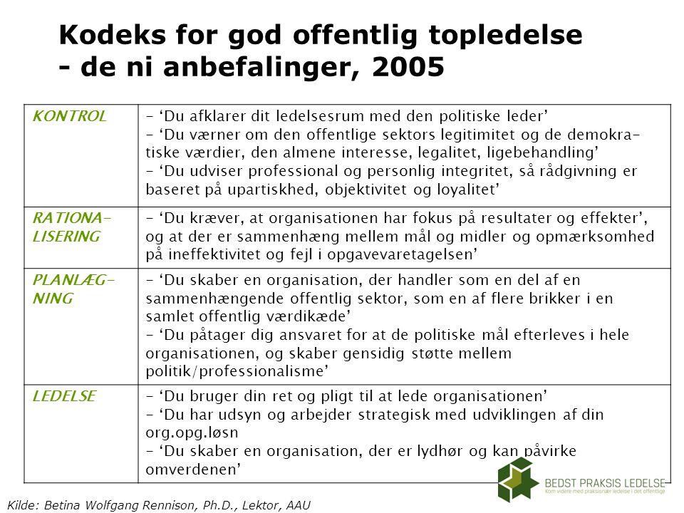 Kodeks for god offentlig topledelse - de ni anbefalinger, 2005
