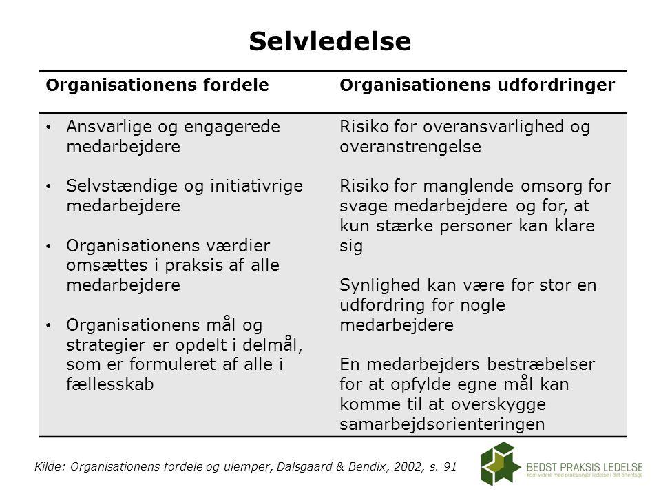 Selvledelse Organisationens fordele Organisationens udfordringer