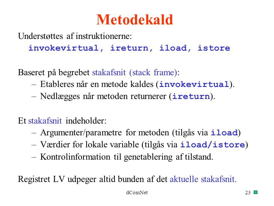 Metodekald Understøttes af instruktionerne: