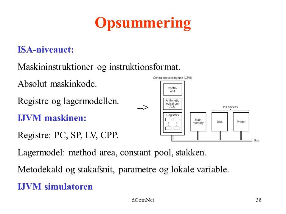 Opsummering ISA-niveauet: Maskininstruktioner og instruktionsformat.